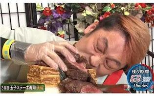 マヨネーズは潤滑油? MAX・ぞうさん・えびまよが「かっぱ寿司」16kgの巨大寿司に挑む!